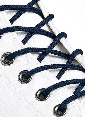 Round Navy Blue Shoe Boot Laces
