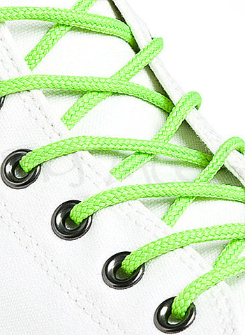 Round Neon Green Shoe Boot Laces