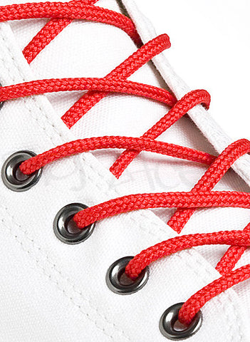 Round Red Shoe Boot Laces