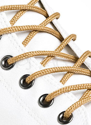 Round Wheat Gold Shoe Boot Laces
