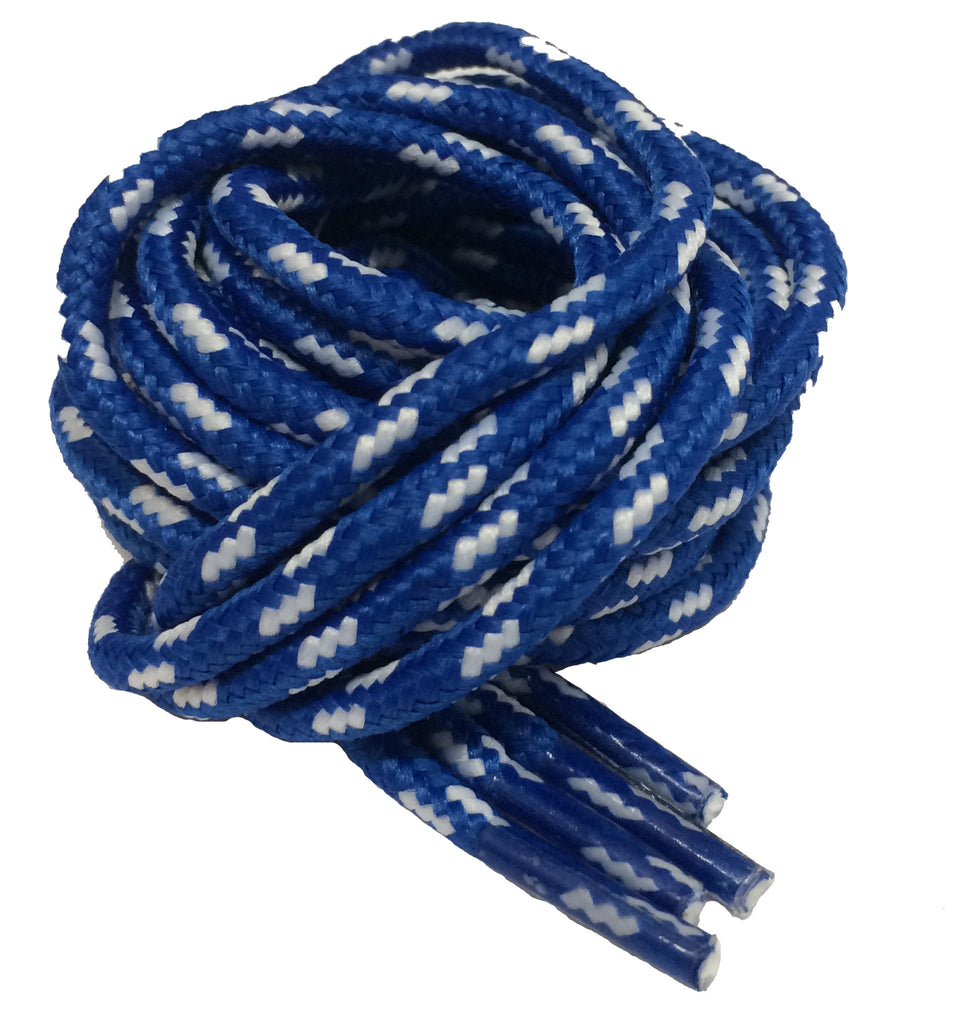 Round Blue and White Fleck Bootlaces