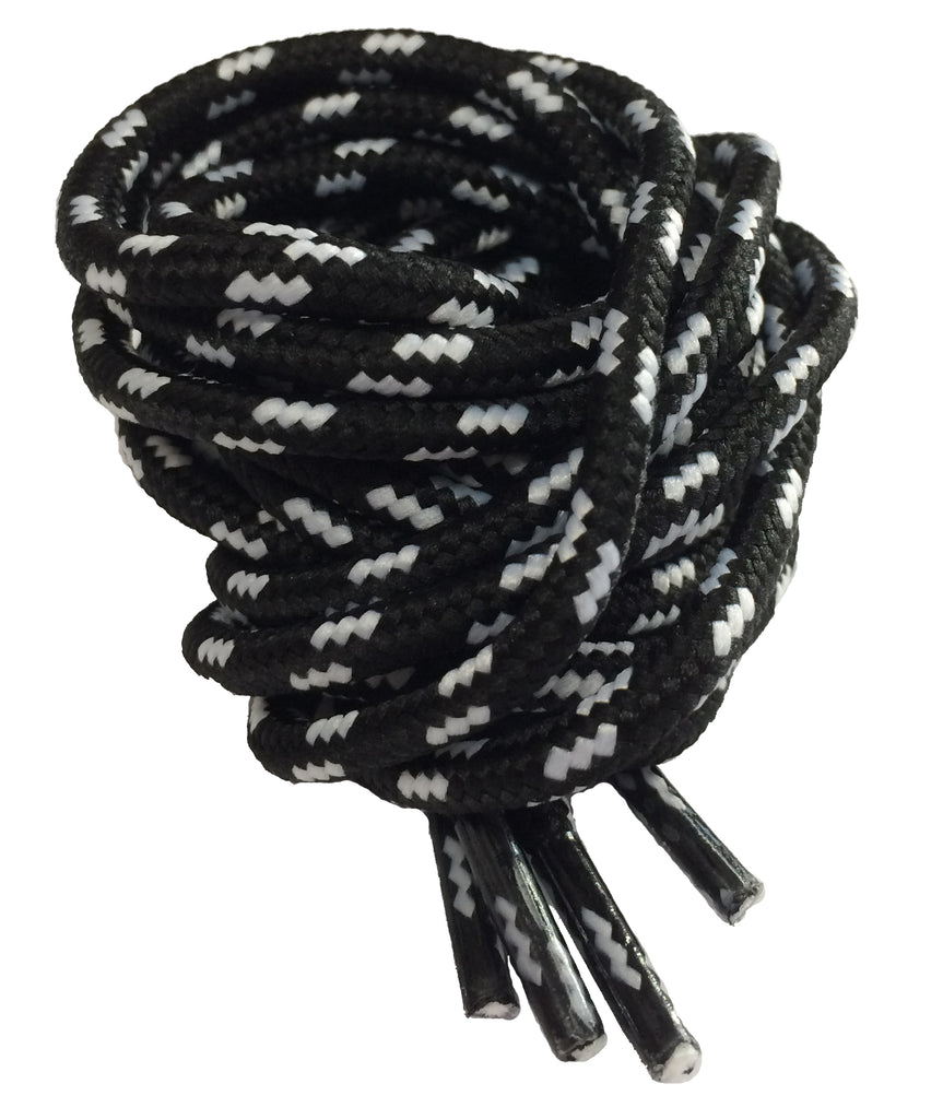 Round Black and White Fleck Bootlaces