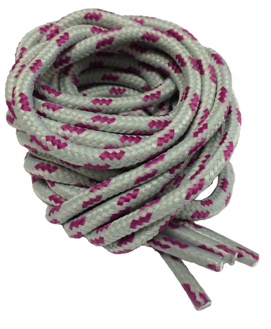 Round Grey and Magenta Fleck Bootlaces
