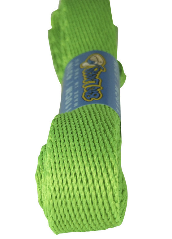 Super Wide Flat Neon Green Shoe Laces