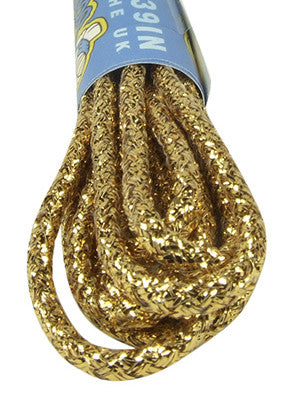 Round Gold Coloured Shiny Shoelaces