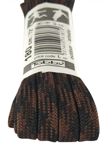 Strong Flat Black and Brown Walking Boot Laces