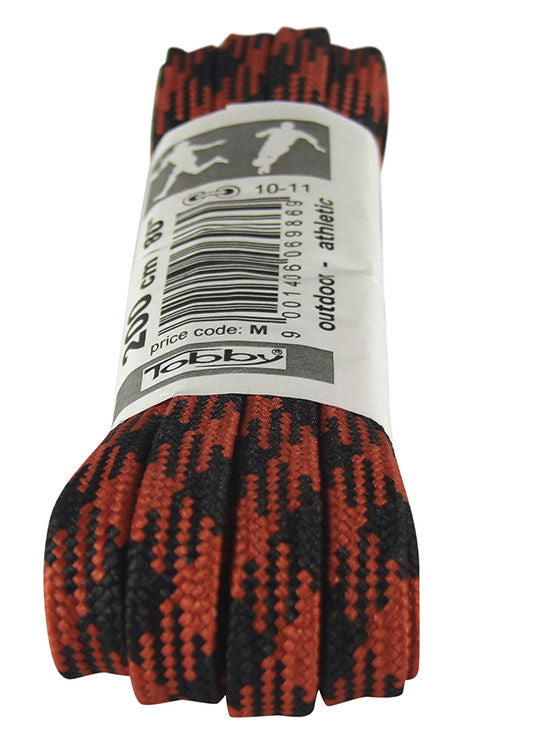 Strong Flat Black and Red Walking Boot Laces