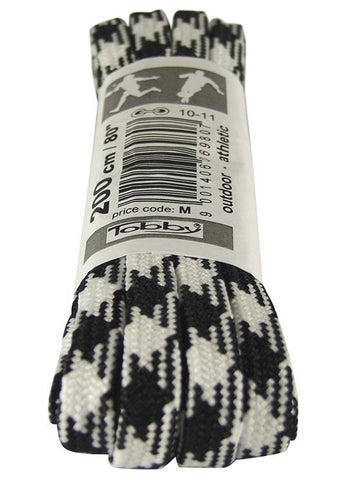 Strong Flat Black and White Walking Boot Laces