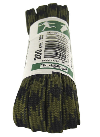 Strong Flat Olive Green and Black Walking Boot Laces