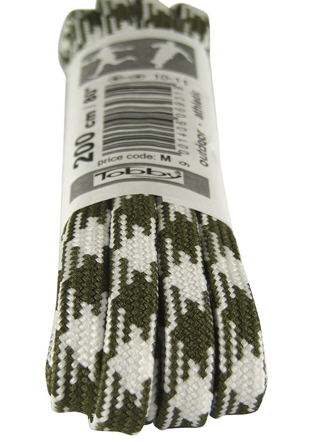 Strong Flat Olive Green and White Walking Boot Laces