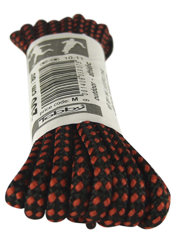 Strong Round Black and Red Walking Boot Laces