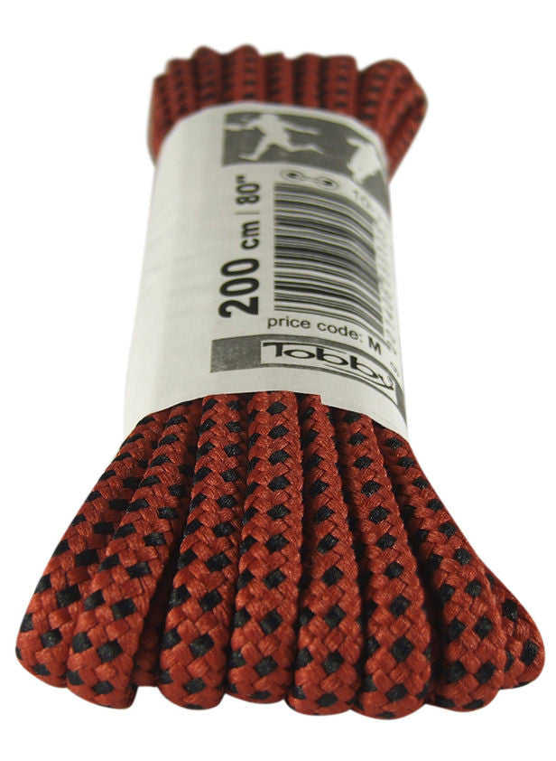 Strong Round Red and Black Walking Boot Laces