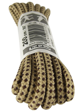 Strong Round Sand and Brown Walking Boot Laces