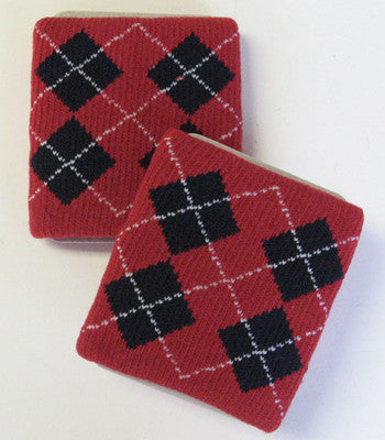Urban Dark Red and Black Argyle Wristbands