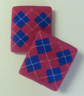 Urban Hot Pink and Blue Argyle Wristbands