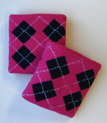 Urban Hot Pink and Black Argyle Wristbands