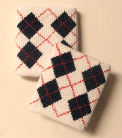 Urban White and Black Argyle Wristbands