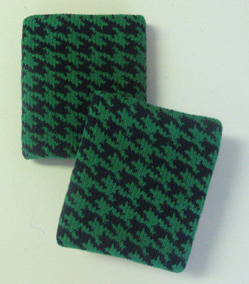 Urban Black and Green Houndstooth Wristbands