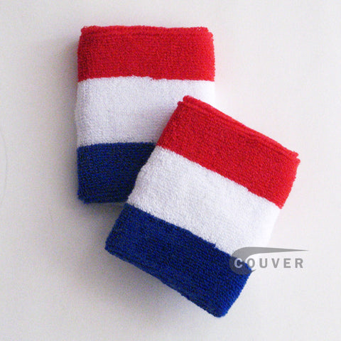Red White and Blue Sports Quality Wristbands