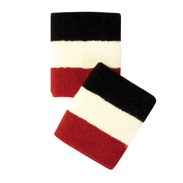 Red White and Black Sports Quality Wristbands