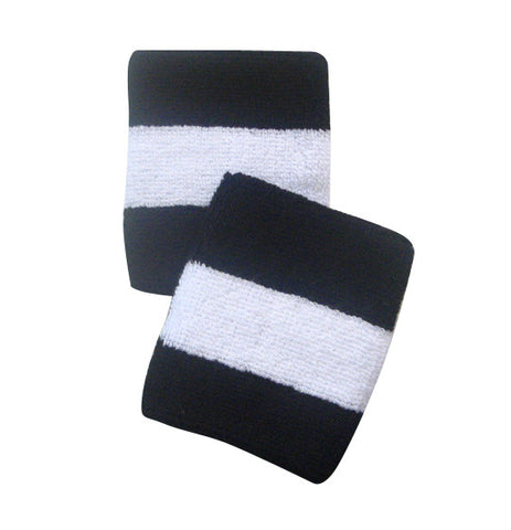 Black and White Sports Quality Wristbands