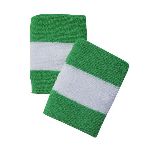 Bright Green and White Sports Quality Wristbands