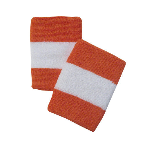 White and Dark Orange Sports Quality Wristbands