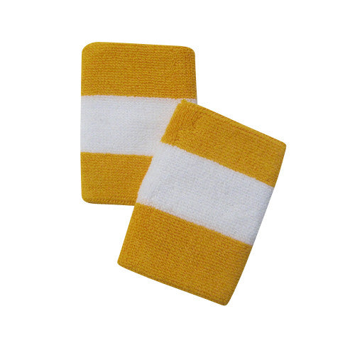 White and Gold Yellow Sports Quality Wristbands