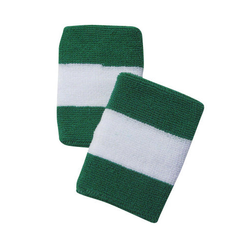 White and Green Sports Quality Wristbands