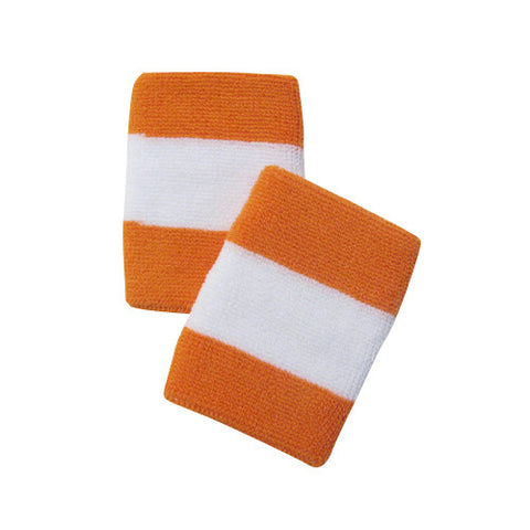 White and Light Orange Sports Quality Wristbands