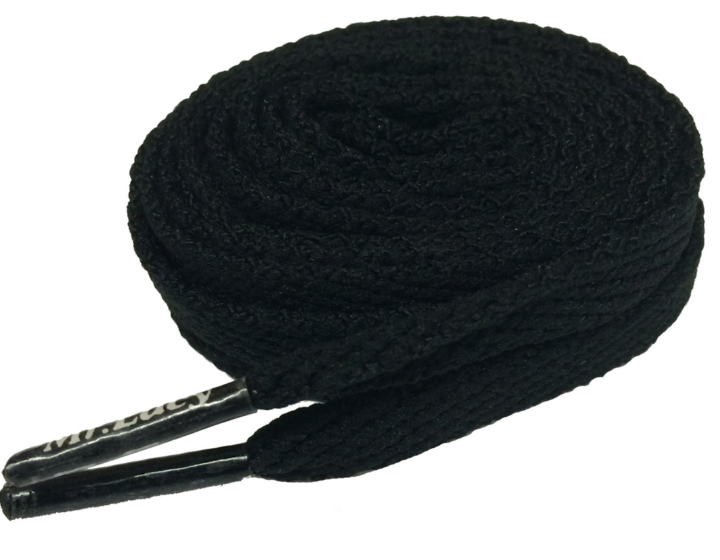 Mr Lacy Flatties Flat Black Shoelaces