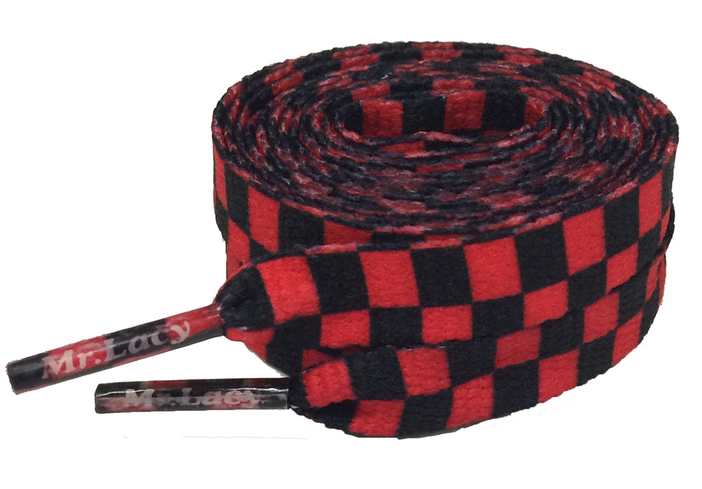 Mr Lacy Printies - Flat Check Red and Black Shoelaces