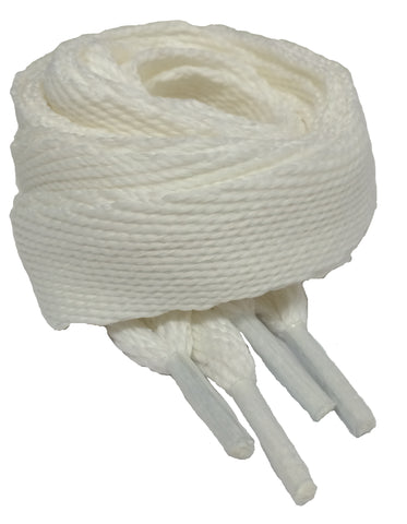 Very Wide Flat White Shoelaces - 20mm