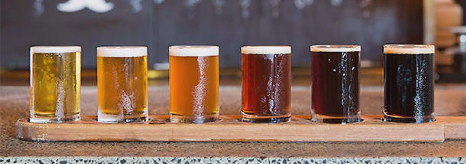 Different types of german beer ready for oktoberfest