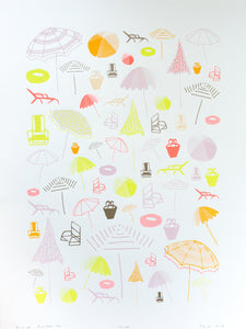 Day at the Beach Silk Screen Print