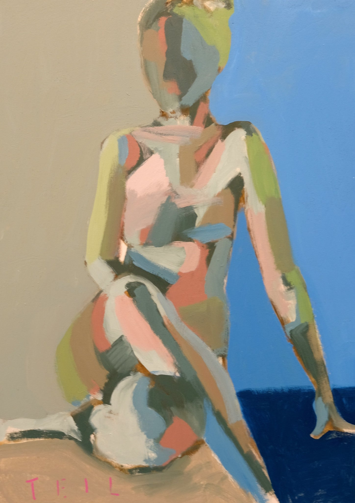 Cobalt and Khaki Figure, 18x24