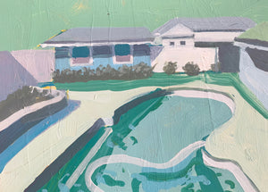 "Pool House in Teal, 5""x7"""
