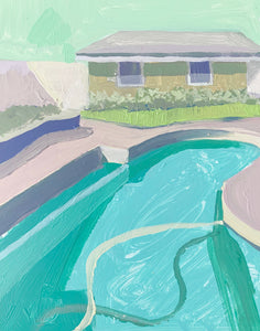 "Pool House in Emerald, 8""x10"""