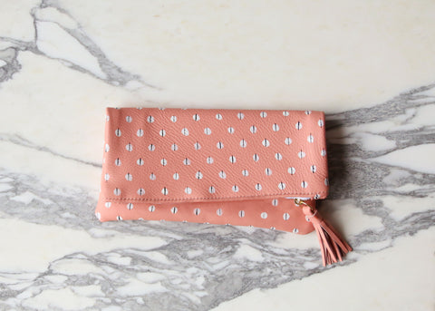 White Dot Leather Clutch