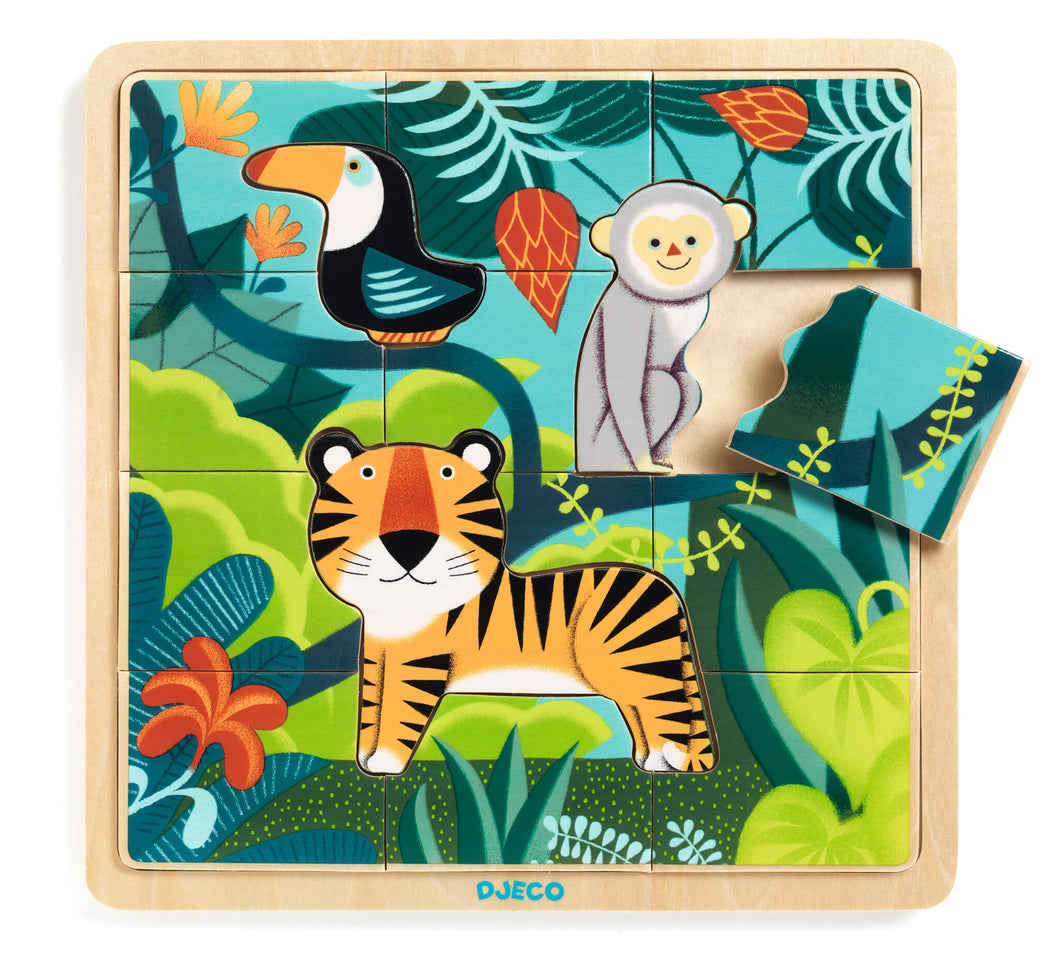 Djeco - 15 Piece wooden Jigsaw - Jungle