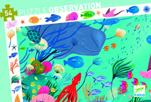 Djeco 54 Piece Observation Puzzle - Aquatique