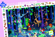 Load image into Gallery viewer, Djeco 100 Piece Observation Puzzle - Enchanted Forest