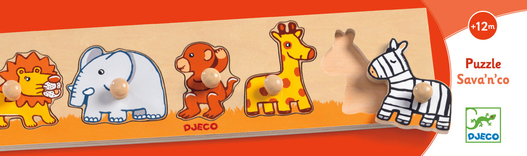 Djeco toddler Peg puzzle - Savanna'n'Co