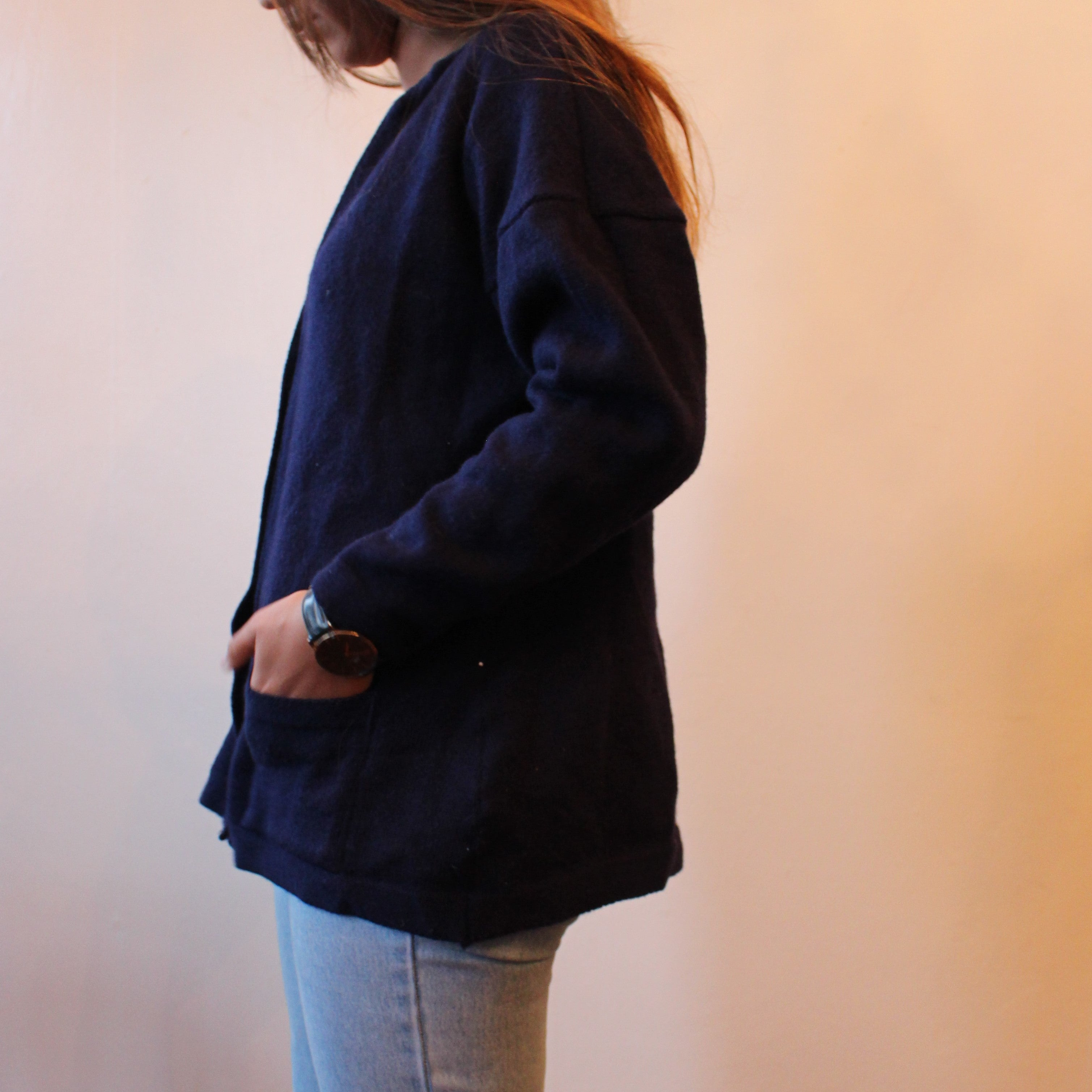 Navy Number Cardigan - ZoMa Collective