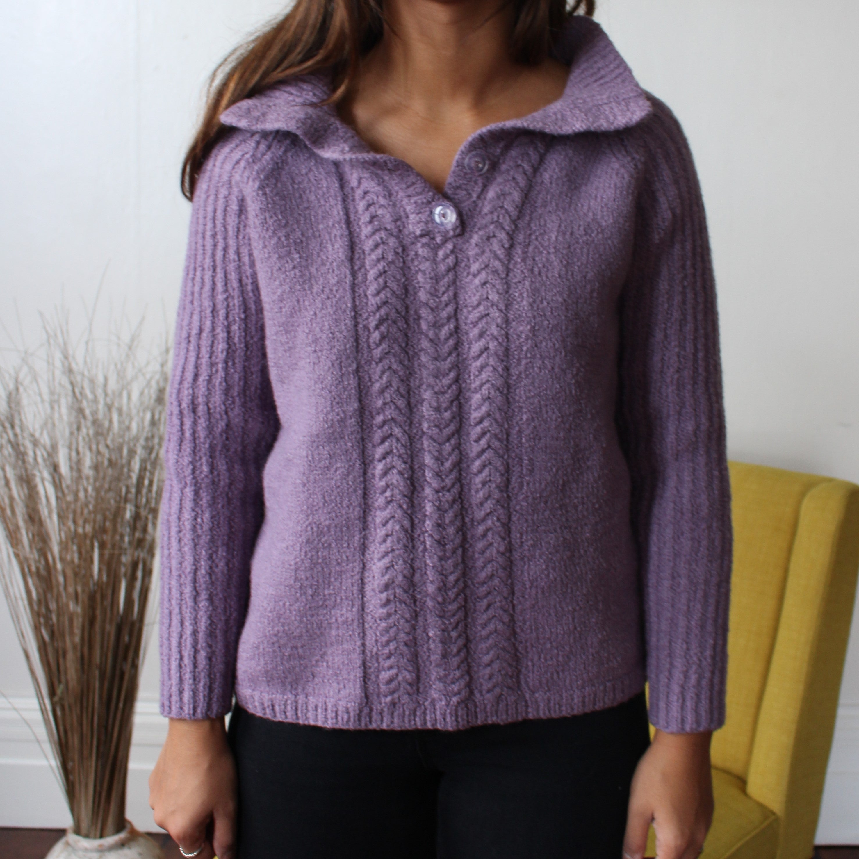 Lavender Lucky Cropped Knitwear - ZoMa Collective