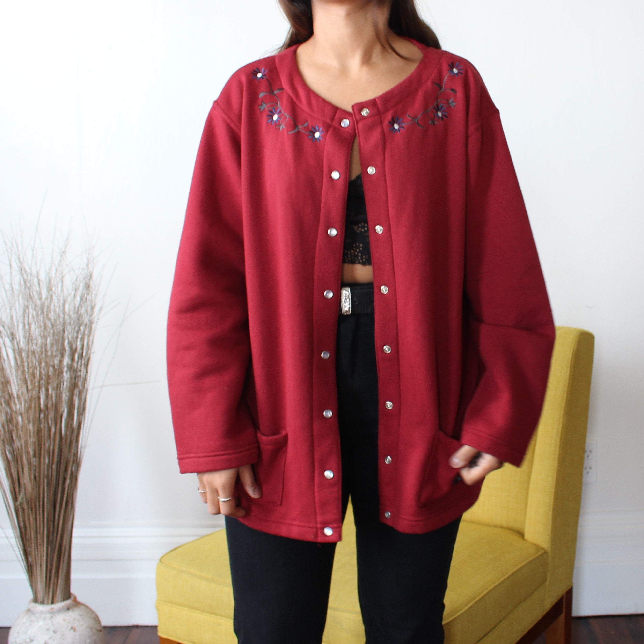 Floral Fiend Red Bomber Jumper - ZoMa Collective