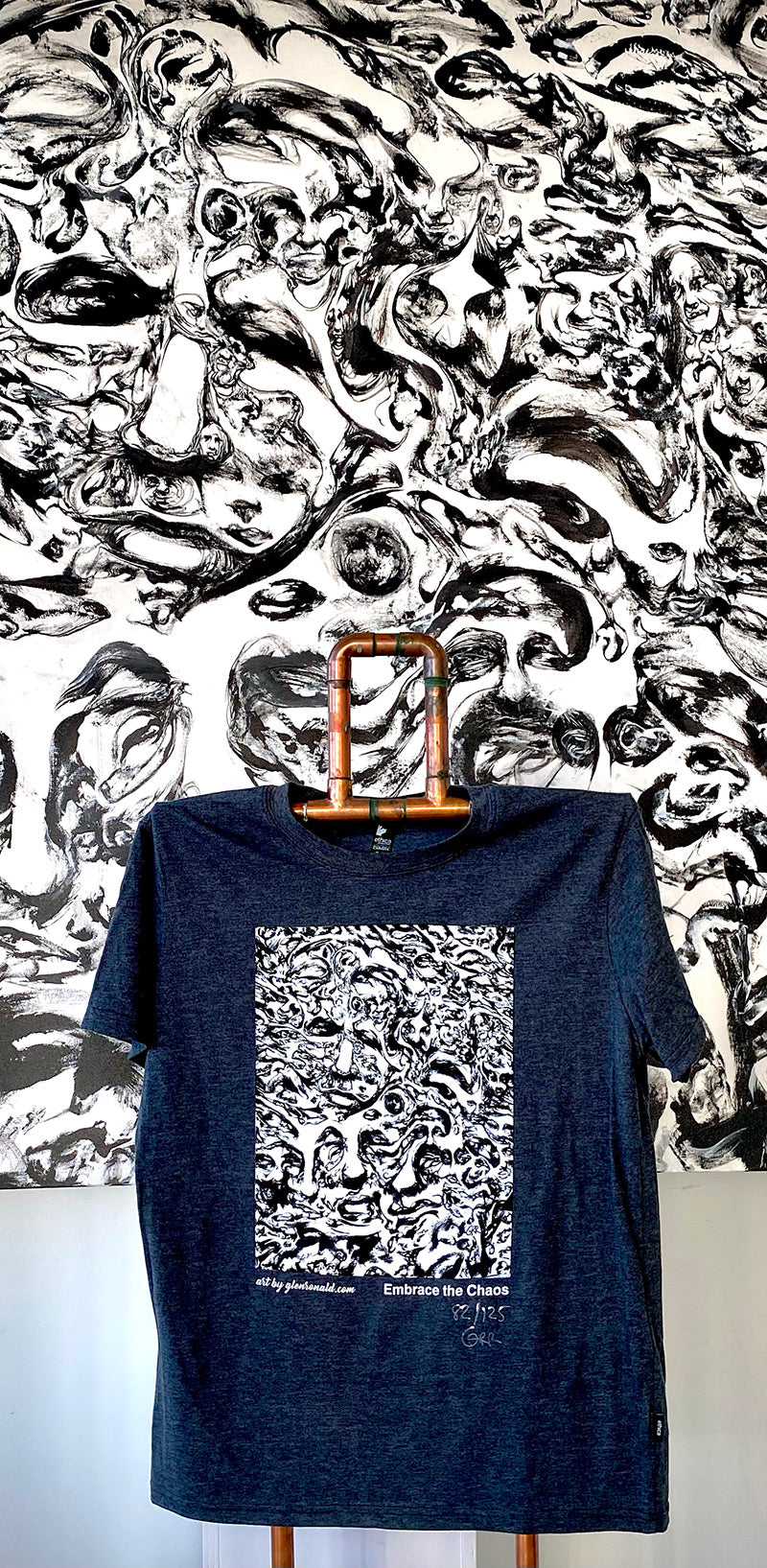 GlenRonald Art Eco T-Shirt Small Grey - Signed and Numbered