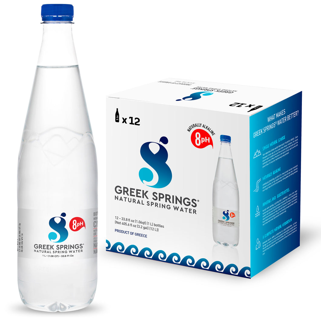 GREEK SPRINGS Natural Spring Water, (12 bottles x 1Litter) Naturally Alkaline, pH 8 Level - Bottled at Mount IDA, Greece - Greek Springs