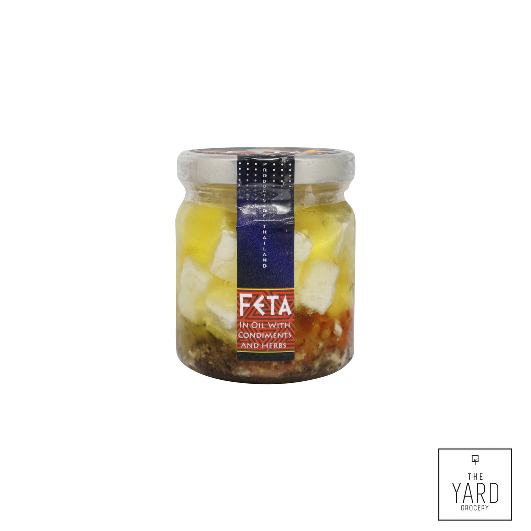 Feta Cheese in Oil with condiments and herbs