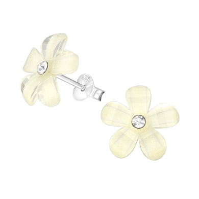 Flower Silver & Crystal Colourful Stud Earrings
